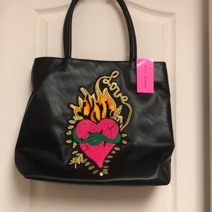 Betsey Johnson tote bag black with heart patch